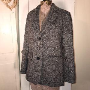 L.L. Bean cashmere black tweed blazer jacket 6 / M
